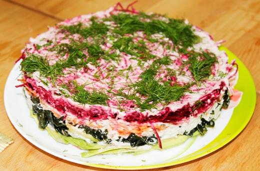 Сырой салат «Шуба», под Живым майонезом